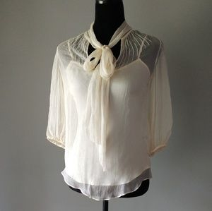 NWT BADGLEY MISCHKA ivory silk tie-neck blouse